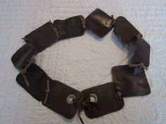 Coffee Brown Leather BELT with Grommets by BecomingDesigns on Etsy