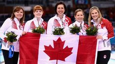 Gold medalists Jennifer Jones , Kaitlyn Lawes , Jill Officer , Dawn McEwen and Kirsten Wall of Canada celebrate during the flower ceremony for the Gold medal match between Sweden and Canada on day Get premium, high resolution news photos at Getty Images Women's Curling, Winter Olympics 2014, Ice Hockey Teams, Jennifer Jones, Winter Games, Cool Countries, Olympic Games, Curls, Canada
