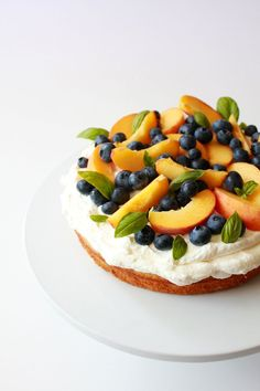 Almond Cake with Basil Infused Whipped Cream