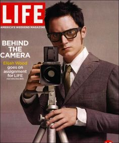 Elijah Wood with a Hasselblad (Homage to Elvis Costello album cover) Elijah Wood, Elvis Costello, Old Cameras, Vintage Cameras, Celebrity Photographers, Toms, Cinema, Photography Camera, Pregnancy Photography