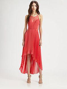 BCBGMAXAZRIA Accordion Pleat Lace Dress