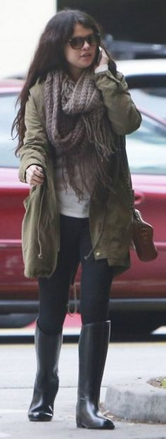 Who made  Selena Gomez's tan coat and black boots that she wore in Burbank?