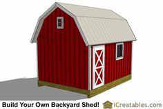 12x16 gambrel shed plans rear view