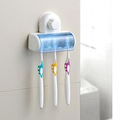 USD $ 4.99 - Wall-mounted Toothbrush Holer with Sucker, Free Shipping On All Gadgets!