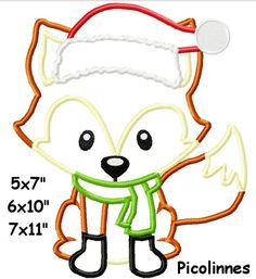 FOX Applique Embroidery Digital Design Woodland by Picolinnes4Kids