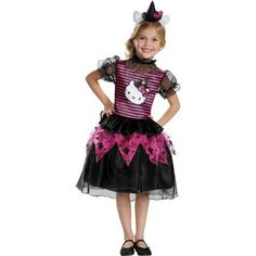 Hello Kitty Witch Classic Child Halloween Costume, Girl's, Size: 3T/4T, Black