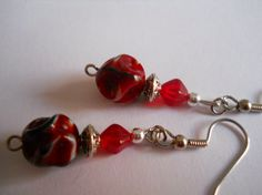 Modern Red and Black Dangle Earrings Silver