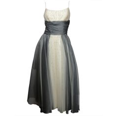 1950's grey silk chiffon over white under dress embellished with pronged rhinestones. By Frank Starr