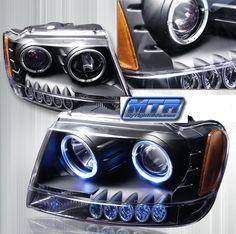 Jeep Grand Cherokee 1999 2000 2001 2002 2003 2004 Angel Eye Projector Headlights With Dual Lighted Halos 2003 Jeep Grand Cherokee, Grand Cherokee Overland, Jeep Grand Cherokee Laredo, Jeep Wj, Jeep Truck, Jeep Names, Black Truck, Jeep Mods, Projector Headlights