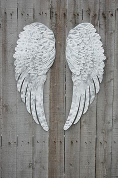 Angel Wings Shabby Chic White Silver Large Metal Upcycled Hand Painted Shabby Chic Decor Boho Chic Wall Decor Nursery Decor Gift USD) by TheVintageArtistry Shabby Chic Homes, Shabby Chic Decor, Ange Tattoo, Metallic Paint, White Chalk Paint, Angel Wings Wall Decor, Angel Decor, Angel Art, Painted Jewelry Boxes
