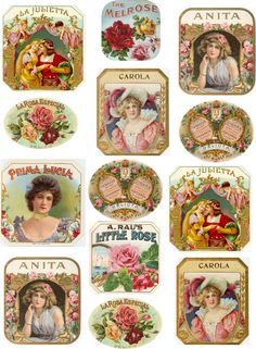 ♥ ♥ the digital bakery: Vintage labels on bottles, boxes, cards and so forth