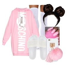 """Moschino"" by arii-bankss ❤ liked on Polyvore featuring Moschino, Puma and Ashlyn'd"