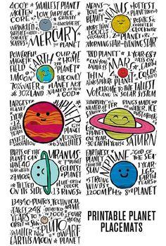 Fun Fact Placemats: Planets - Lorii My World Space Activities, Science Activities, Activities For Kids, Science Facts, Teaching Science, Facts For Kids, Fun Facts, Solar System Projects, Solar System Art