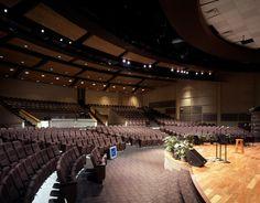 830 seats (420 sloped/410 riser) Church Interior Design, Church Stage Design, Modern Interior, Theatre Architecture, Religious Architecture, Take Me To Church, Kids Church, Harvest Church, Auditorium Design