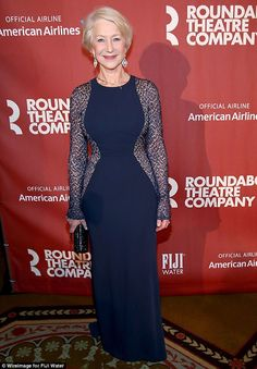 Beautiful in blue: Helen was a vision in her gown as she made her way to the Roundabout Theatre Company's 2015 Spring Gala, where she received the Jason Robards Award For Excellence In Theatre