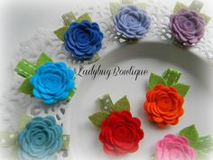 Sweet Wool Felt Rosette Flower Choose Your by LadybugBowtique