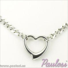 GARGANTILLA CORINA  Gargantilla de Acero Inoxidable 316L, realizada con cadena y colgante en forma de corazón. Longitud de la cadena: 45 cm.Tamaño colgante: 29 x 23 mm.