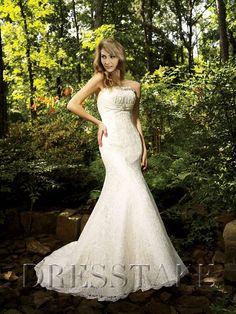 Luxury Trumpet / Mermaid Strapless Floor-length Lace White Wedding Dresses