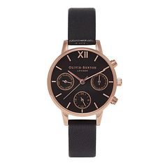 Buy Olivia Burton Women's Chrono Detail Midi Dial Chronograph Leather Strap Watch, Black/Silver from our Women's Watches range at John Lewis & Partners. Black Face Watch, Black Jewelry, Gold Jewelry, Jewellery, Vintage Jewelry, Rose Gold Watches, Black Watches, Watch Model, Stainless Steel Jewelry