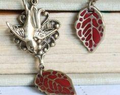Oiseau boucle d'oreille, boucles d'oreilles feuille, rouges boucles d'oreilles, boucles d'oreilles oiseau Hirondelle boucles d'oreilles,