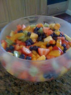 Great and Simple Fruit Salad if you need an easy recipe for the Holiday! This is a family fav that I make every Holiday or BBQ we have kids love it and adults. Strawberries  Blueberries  Grapes  Peaches  Bananas  Watermelon  Kiwi    Slice fruit and place in bowl mix in one can of Peach Pie Filling refrigerate until serving time!  Enjoy!!!!