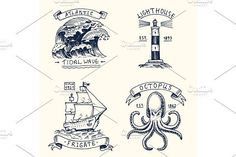 set of engraved vintage, hand drawn, old, labels or badges for atlantic tidal wave, lighthouse and octopus or sea creature, frigate or ship. Marine and nautical or sea, ocean emblems. by ArtBalitskiy on @creativemarket