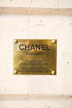 brass plaque at Chanel I Dont Need You, Fashion Deals, Lund, My Style, Chanel Jewelry, Jewellery, Chanel Chanel, Bespoke, Eye Candy