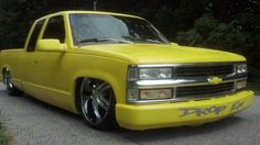 Dropped yellow Chevy