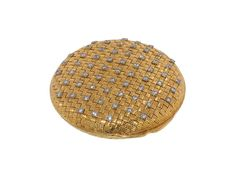 Vintage Tiffany & Co. Diamond Basketweave Compact in 18K Yellow Gold, Circa 1975