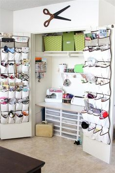 "Brilliant ""sewing room"" idea (in case I ever need to downsize my space) -- I especially like the over-the-door shoe organizers to corral odds and ends"