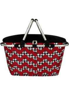 $13.75 Houndstooth Chevron Collapsible Insulated Market Basket with Lid