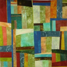 """""""Altered Perspectives 4"""" is a Floris Flam art quilt made with cotton fabric she dyed. Machine quilted with free motion and straight line stitching. $450"""