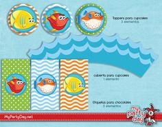 Printable's designs for a under the sea party / Diseño de Imprimibles para una fiesta bajo el mar Ideas Para, Events, Chocolate, Chic, Party, Little Mermaid Parties, Parties Kids, Under The Sea, Shabby Chic