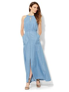 Shop Denim Halter Maxi Dress. Find your perfect size online at the best price at New York & Company.