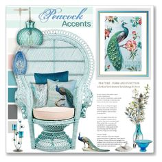 """""""Peacock Accents"""" by helenehrenhofer ❤ liked on Polyvore featuring interior, interiors, interior design, home, home decor, interior decorating, Pop Chart Lab, Seed Design, Pier 1 Imports and Jamie Young"""