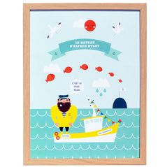 """Print """"Le beau bateau d'Alfred Bulot""""Une petite brise marine accompagne Alfred Bulot et son bateau pour un grand voyage au largeIllustration 42x60© Eudeline Moutarde"""