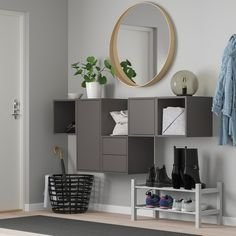 EKET Wall-mounted cabinet combination, white, Width: 68 Height: 27 Learn more! Dining Cabinet, Cabinet Doors, Wall Storage, Storage Cabinets, Cupboards, Ikea Eket, Ikea Family, Painted Drawers, Steel Cabinet