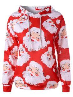 4d057259e1124 Santa Claus Print Christmas Hoodie  Sweatshirts  Fashion  Womens  Women  Red  Christmas