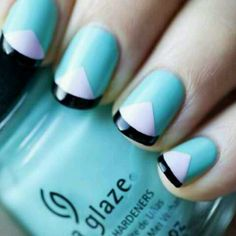 Geometric manicure - nail art - aqua white and black