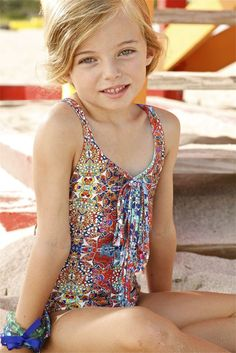 Little Peixoto Hannah - Kids Accented One Piece. This Peixoto Kids Hannah One Piece is made out of the best quality materials with care. The mosaic print of this Designer Kids Fringe Accented One Piece is classic. Its bold colors and geometric design calls the attention of all young fashionistas. #fashionistas