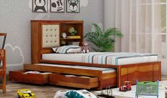 Buy Nova Kids Trundle Bed With Storage (Honey Finish) Online in India - Wooden Street