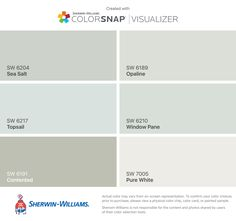 I found these colors with ColorSnap® Visualizer for iPhone by Sherwin-Williams: Sea Salt (SW 6204), Topsail (SW 6217), Contented (SW 6191), Opaline (SW 6189), Window Pane (SW 6210), Pure White (SW 7005).