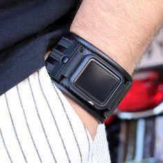 Forget performance, a luxurious watch attached to a wrist just always appears to be a significant enhancement to any wardrobe. Black Apple Watch Band, Apple Watch Cuff, Apple Watch Leather Strap, Apple Watch Bands Mens, Sporty Style, Leather Material, Gifts For Him, Watches, Tic Toc