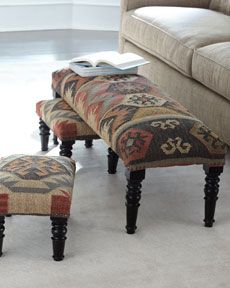 Love these kilim benches.