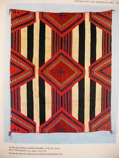 Navajo - Green Collection of American Indian Art Native American Blanket, Native American Rugs, Native American Design, American Indian Art, Motifs Textiles, Textile Patterns, Textile Prints, Textile Art, Navajo Weaving