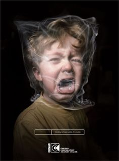 "This advertisement from CONAC, Chilean Corporation Against Cancer, is an example of shock advertising. Shock advertising uses powerful or meaningful images to emotionally impact an individual. The advertisement depicts a helpless child to bring awareness that secondhand smoke kills the people you love, those that are the most vulnerable. ""Smoking isn't just suicide. It's murder."" http://www.personal.psu.edu/ejc5174/blogs/english15/2010/09/smoking-is-murder.html"
