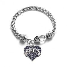 Police Wife Pave Heart Charm Bracelet