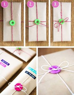 Gifts become more special and attracting by their wrapping style. Different style of DIY gift wrapping ideas for a different sized gifts . Choose gift wrapping idea from below collection according to gift-size, gift type and occasions. Creative Gift Wrapping, Creative Gifts, Wrapping Gifts, Gift Wraping, Easy Gift Wrapping Ideas, Diy Gift Wrapping Tutorial, Brown Paper Wrapping, Wrapping Papers, Christmas Gift Wrapping