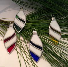 FOUR Christmas Ornaments in Stained Glass, Tree Decorations, Ornaments, Christmas Ornaments by StainedGlassandPens on Etsy