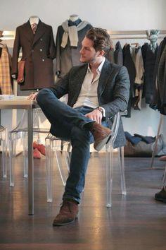 Grey blazer, white shirt, blue jeans, Brown shoes